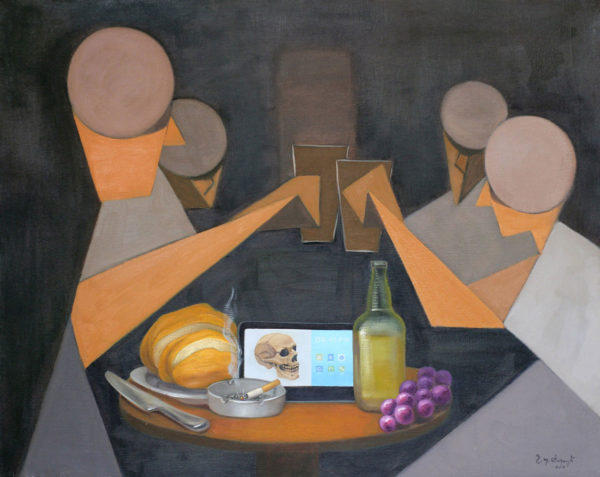 Diners a figurative painting using oil on canvas