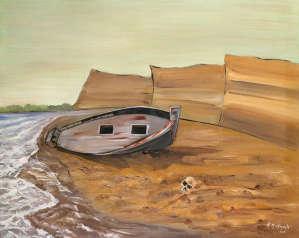 Ashore a figurative painting using oil on canvas