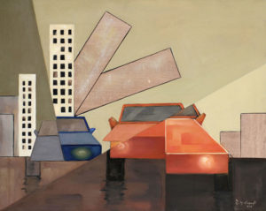 Urban landscape a figurative painting using oil on canvas