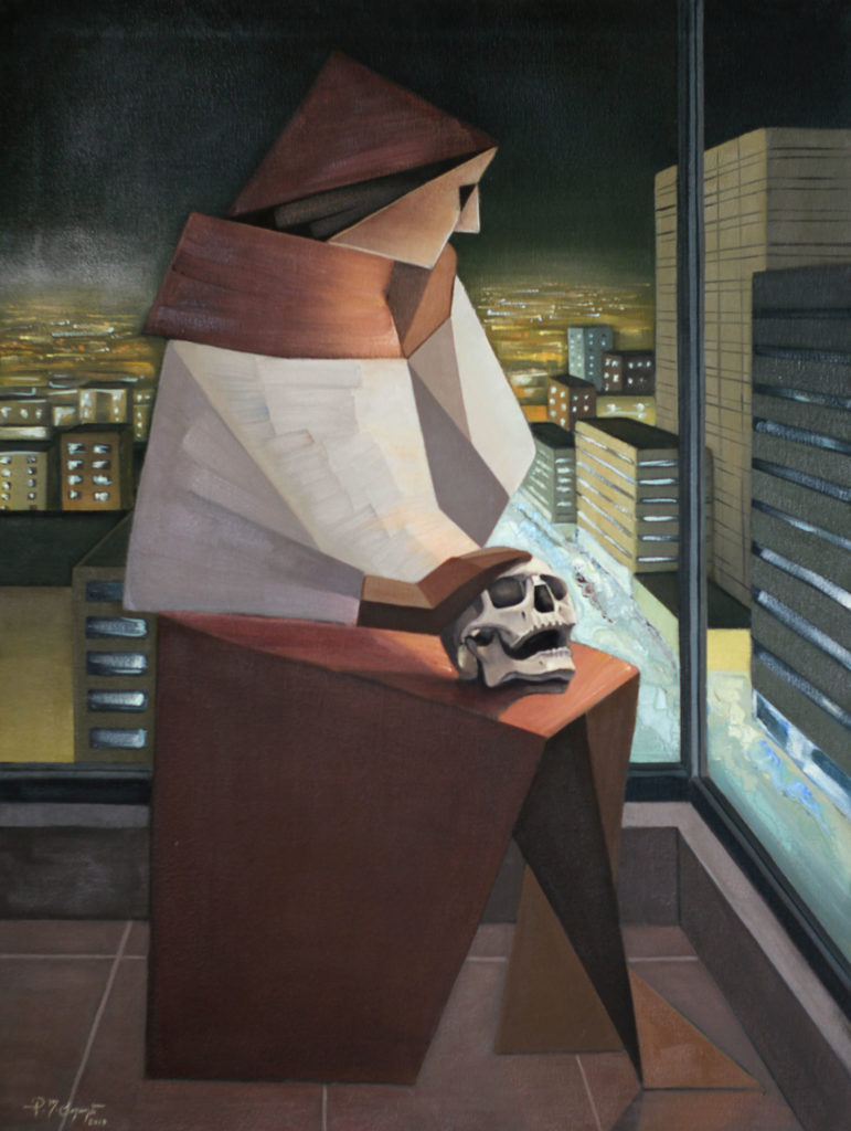 Magdalene among city lights a figurative painting using oil on canvas
