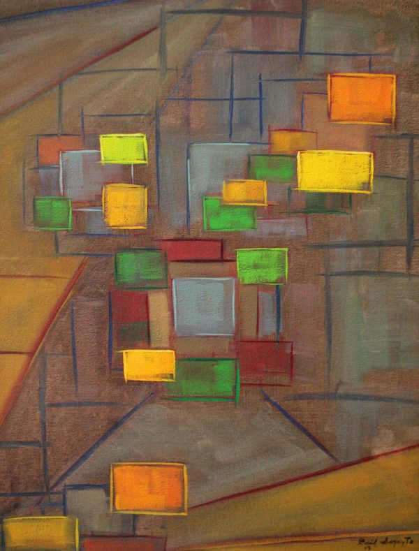 Composed squares1 an abstract painting using oil on canvas