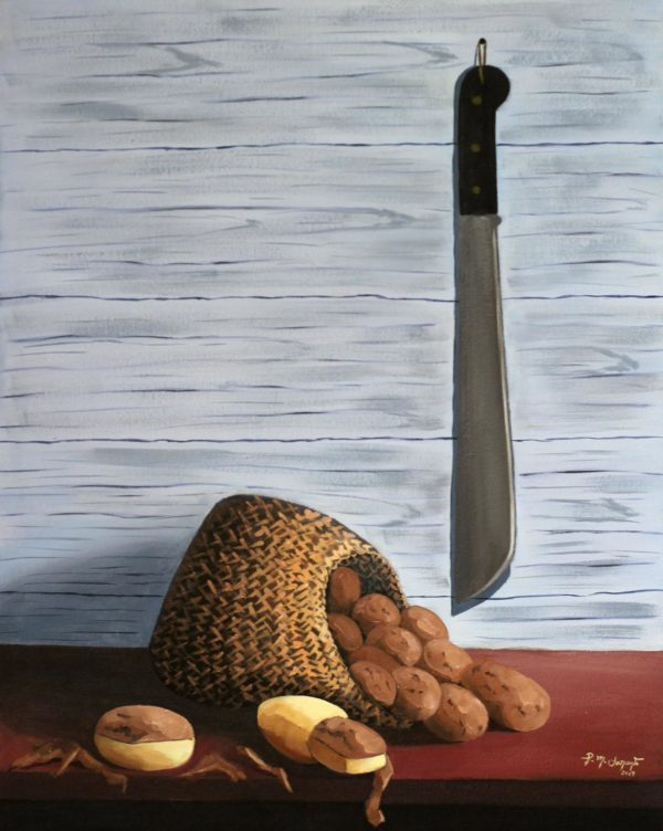 Sack of potatoes a still life using oil on canvas