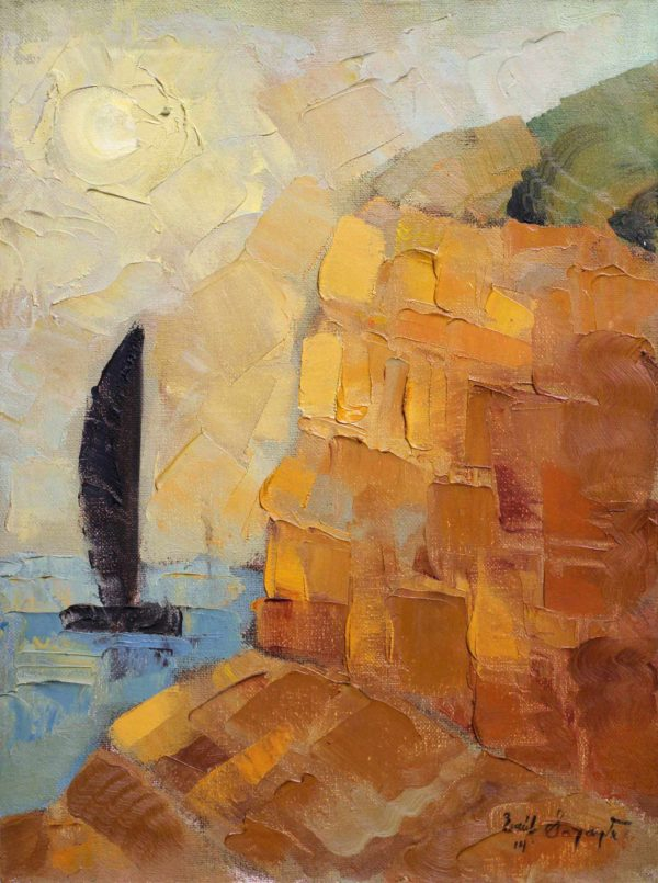 View of a cliff a figurative paintng using oil on canvas
