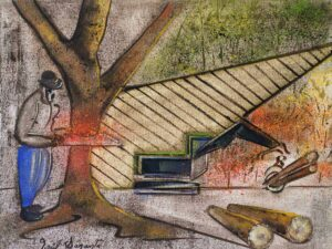 Oil painting the game of machinery no.3 by visual artist Raul M. Sarante