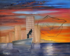 Fishing at sunset a figurative painting using oil on canvas