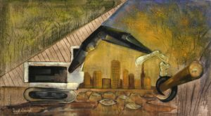 The game of machinery1 a figurative painting using oil on canvas