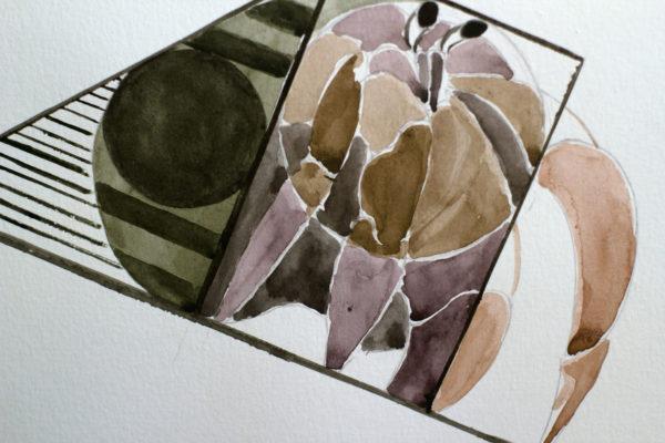 Crustacean no.3 detail using watercolor