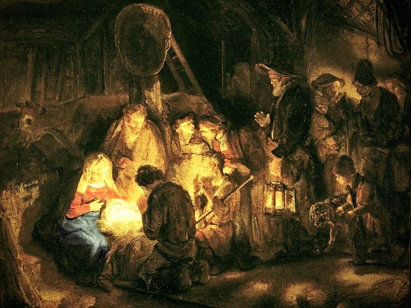 La adoracion de los pastores por Rembrandt